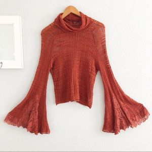 Free People Sienna Open Knit Bell Sleeve Sweater